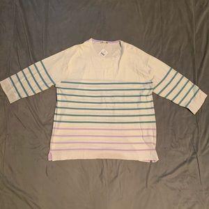 J. Jill Cream Teal Lilac Striped Sweater NWT L
